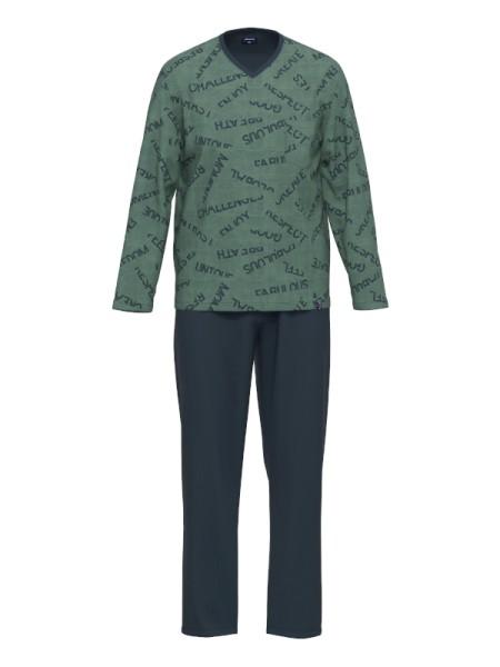 Herren Schlafanzug grün blau AMMANN