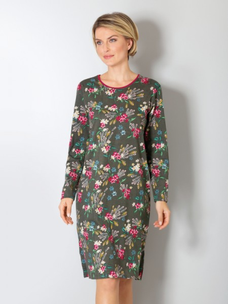 Damen Sleepshirt Premiumcotton Tencel - Zeder Blumen - hajo