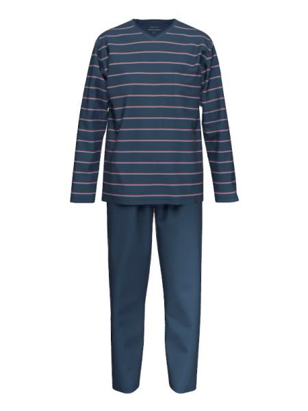 extra light cotton Herren Schlafanzug nachtblau Streifen AMMANN
