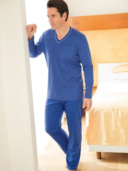 Herren Schlafanzug Sir blau fein gemustert NOVILA