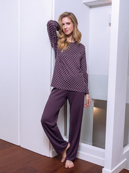 Damen Schlafanzug Baumwolle Modal aubergine Punkte AMMANN