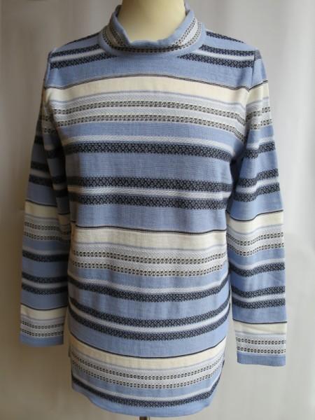 Damen Pullover Schurwollmischung hellblau Muster - SIEGEL