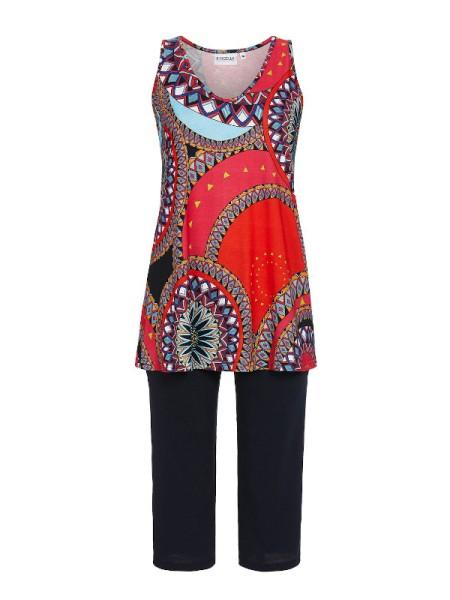 Schicker Anzug in Baumwolle / Modal rot schwarz RINGELLA