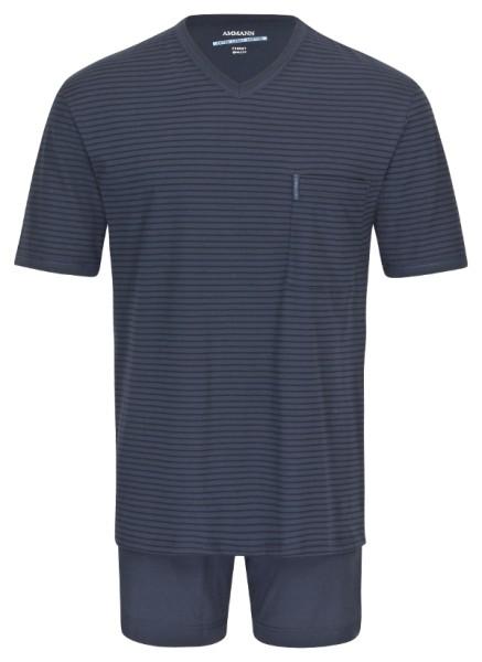 Herren Schlafanzug kurz Extra Light Cotton marine AMMANN