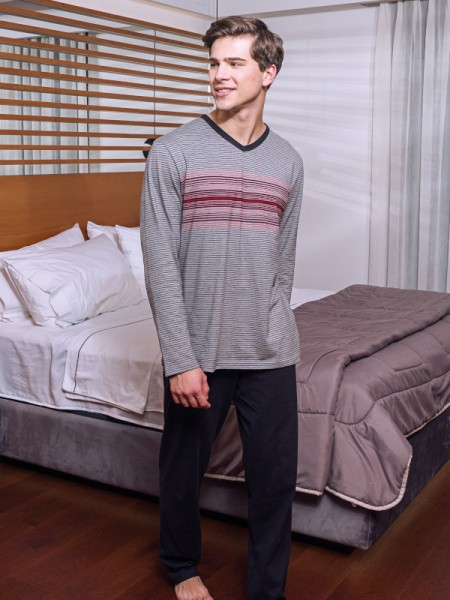 Herren Schlafanzug grau rot schwarz AMMANN