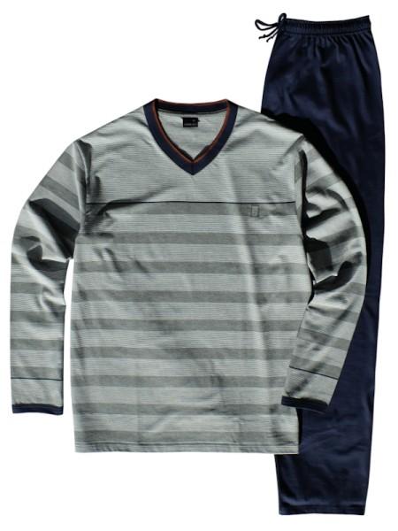 AMMANN Herren Schlafanzug Winter-Cotton grau marine