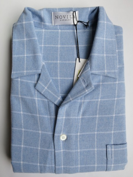 Herren Flanell-Nachthemd Mario hellblau Karo NOVILA