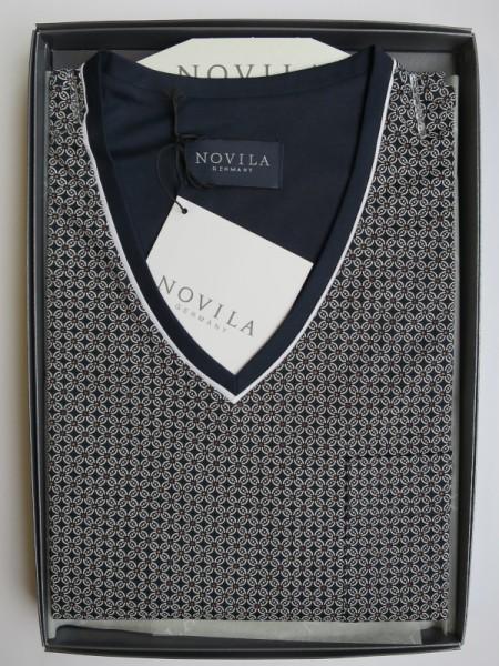 Herren Nachthemd Tobias marine Muster NOVILA