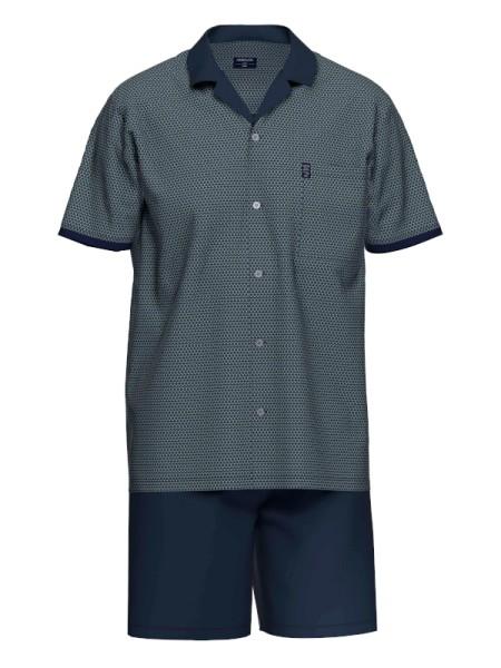 Herren Sommer Pyjama marine gemustert AMMANN