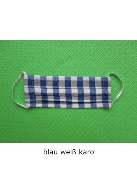 Mund- & Nasen- Bedeckung 100% Baumwolle blau weiß Karo