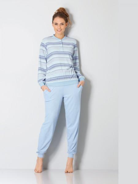 Damen Frottée Schlafanzug hellblau hajo