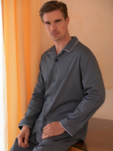 eleganter Herren Pyjama Ben marine ocker NOVILA