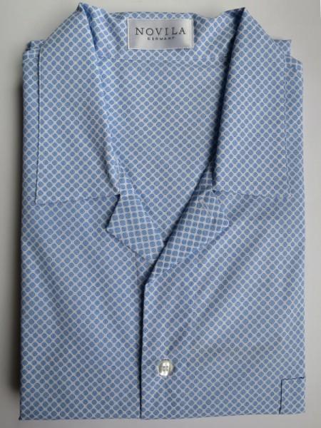 Herren Nachthemd Mario hellblau weiß gemustert NOVILA