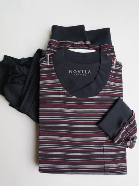 Herren Schlafanzug mit Bündchen Udo NOVILA marine Streifen
