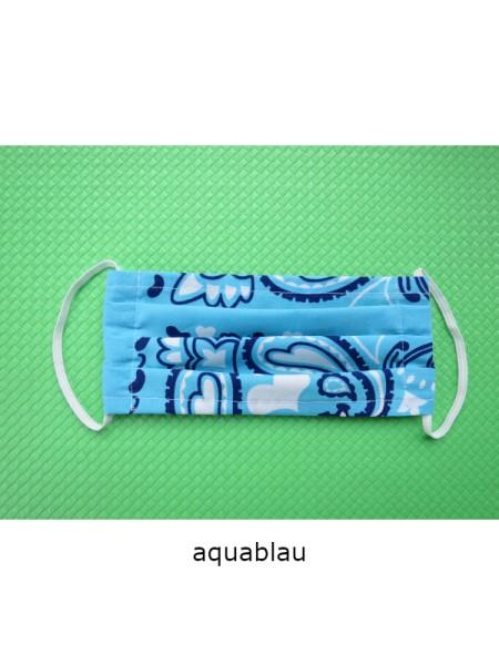 Mund- & Nasen- Bedeckung 100% Baumwolle aquablau