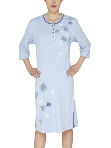 Nachthemd 3/4 Arm Klima-Komfort hellblau hajo