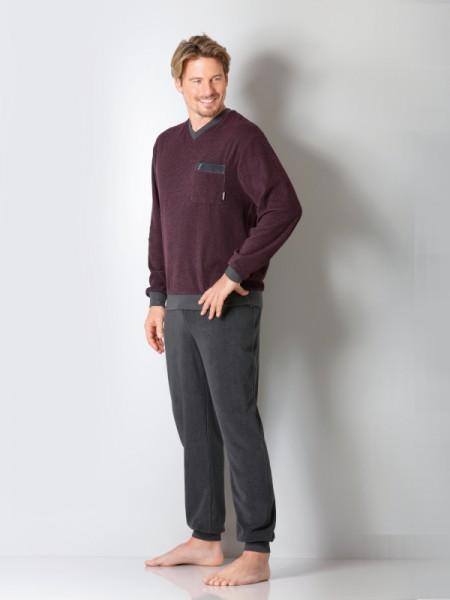 Herren Frottee Schlafanzug burgund hajo