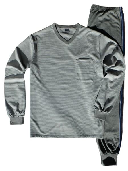 AMMANN Herren Schlafanzug Winter-Cotton grau