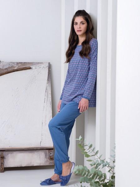Damen Schlafanzug Baumwolle/Modal blau AMMANN