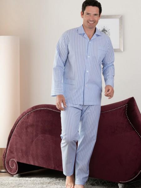Herren Pyjama Marco hellblau Streifen NOVILA