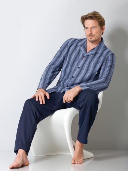 Herren Pyjama Jersey Klima-Komfort Streifen Hajo