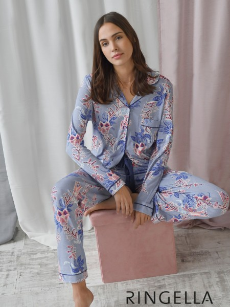 Damen Pyjama in Jersey durchgeknöpft RINGELLA