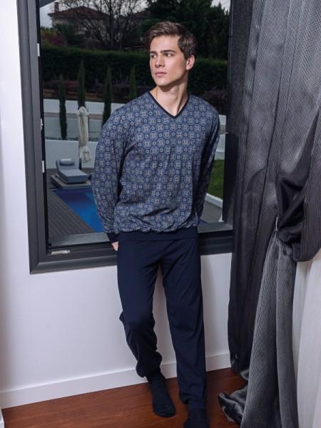 Herren Schlafanzug blau gemustert auf Bund AMMANN