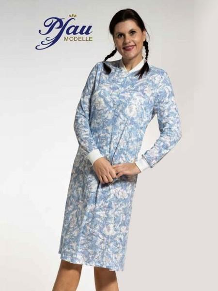 Damen Nachthemd mit Stehkragen blau weiß PFAU MODELLE