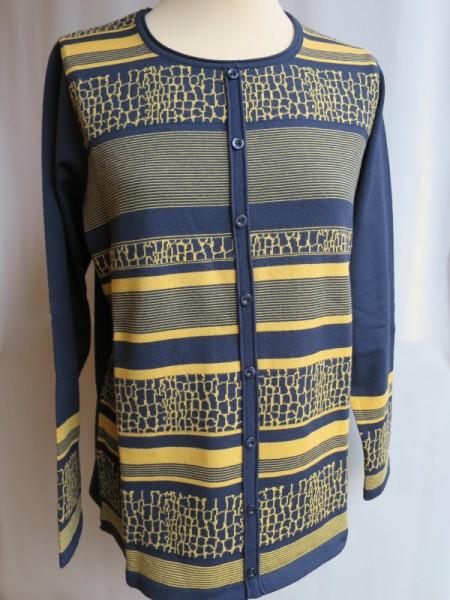 Damen Pullover Modal marine gelb - SIEGEL