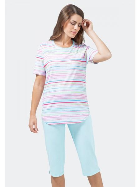Damen Schlafanzug mit Caprihose aquablau hajo