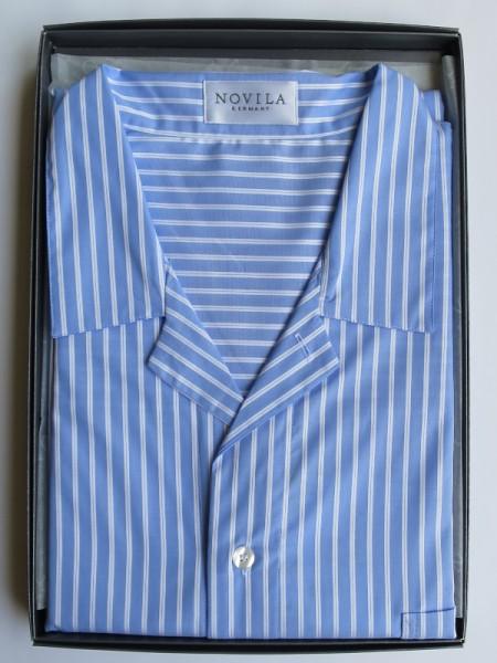 Herren Nachthemd Mario hellblau Streifen NOVILA