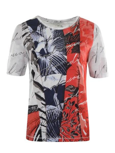 Damen T-Shirt Baumwolle marine / rot HAJO