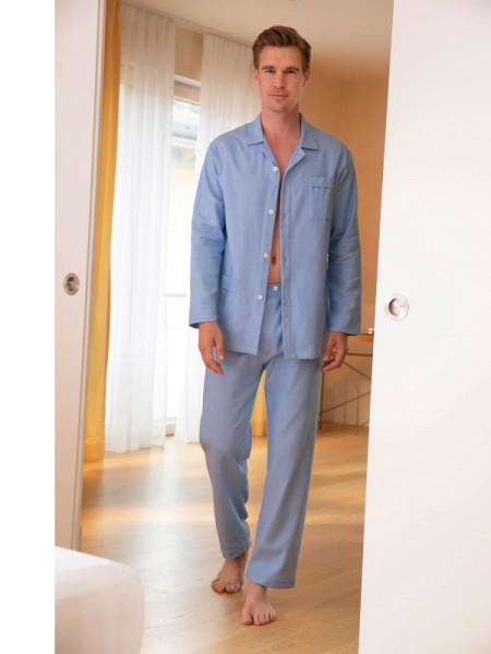 Flanell Pyjama Marco hellblau NOVILA