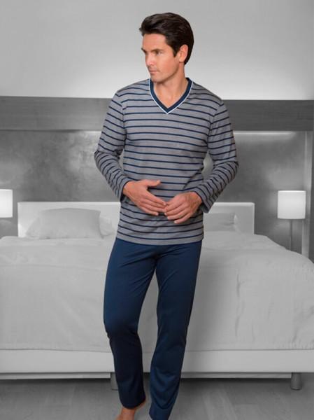 Herren Schlafanzug Sir marineblau Streifen NOVILA