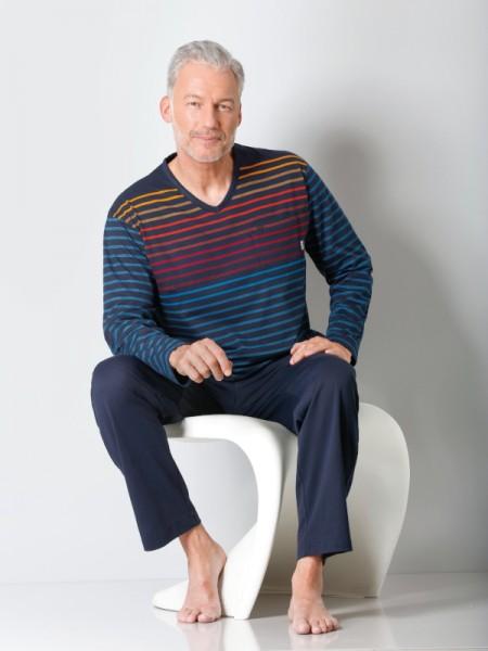 Herren Schlafanzug Klima-Komfort Streifen Hajo