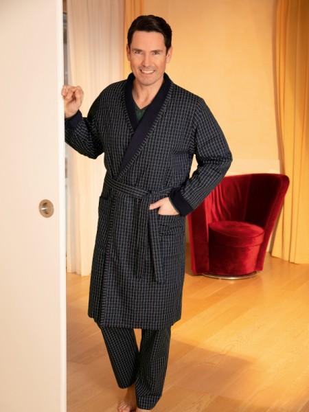 Herren Hausmantel George 100% Baumwolle marine-grün Karo NOVILA