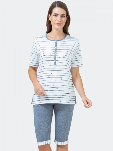 hajo Damen Schlafanzug mit Bermuda Baumwolle Lyocell