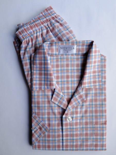 Herren Pyjama Marco 1/2 Arm ferrarirot Karo NOVILA