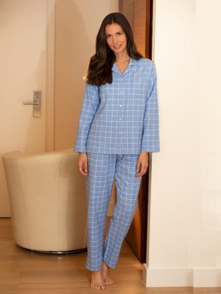 Damen Flanell Pyjama Helena - NOVILA - hellblau kariert