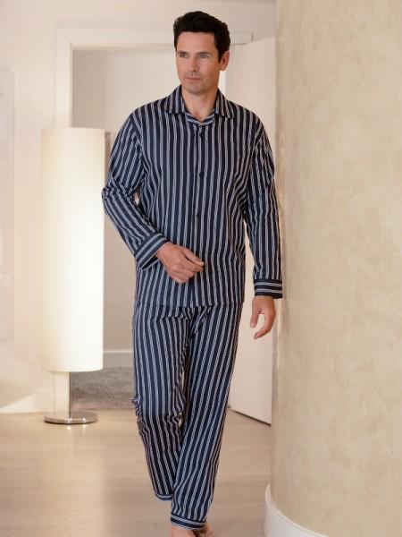 Herren Pyjama Marco dunkelblau Streifen NOVILA