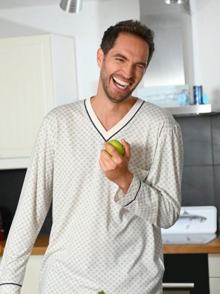 Herren Nachthemd Baumwolle Modal creme RINGELLA