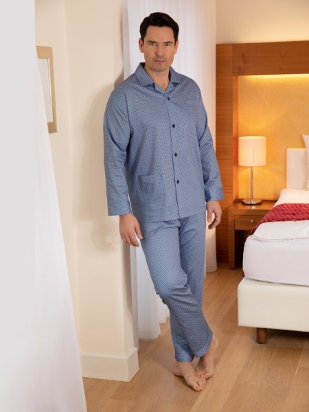Herren Pyjama Marco rauchblau gemustert NOVILA