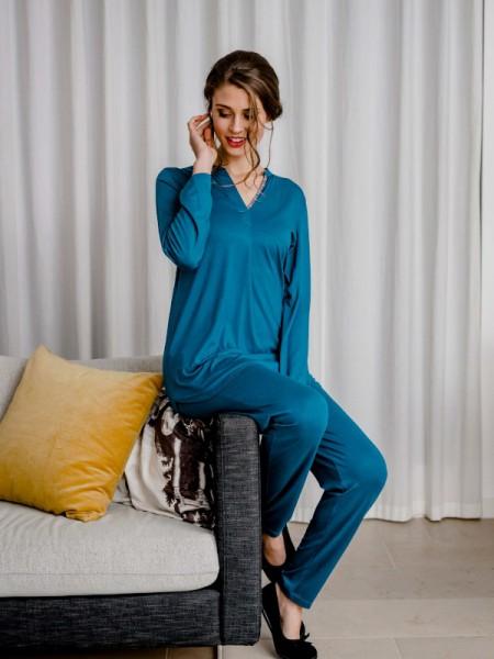 Schlafanzug Baumwolle / Modal petrolblau HUTSCHREUTHER