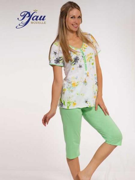 Sommer Schlafanzug weiß grün PFAU MODELLE