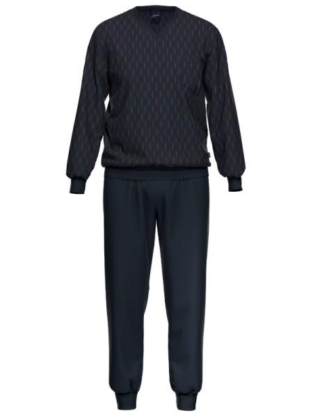 Herrenschlafanzug mit Bündchen Baumwolle Modal AMMANN