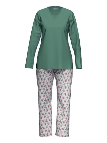 Damen Schlafanzug Baumwolle Modal salbei AMMANN