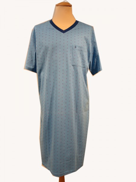 Herren Nachthemd 1/2 Arm mittelblau - Seidensticker