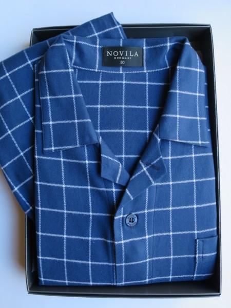 Herren Flanell Pyjama Max azublau Karo NOVILA