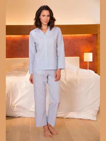 Damen Pyjama Paula hellblau Streifen NOVILA