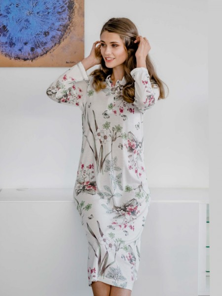 Langes Nachthemd Blumendessin HUTSCHREUTHER